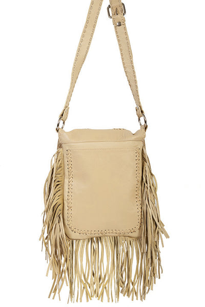 Scully Leather Shoulder Handbag with Fringe Beige Front