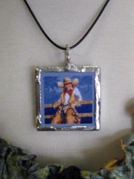 "Art Ceramic Pendant Bezel Set in Silver on 20"" Thong, Example"