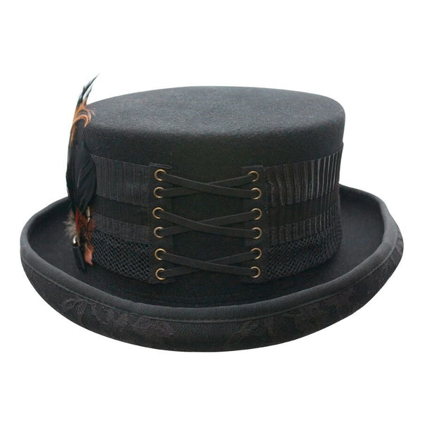 e375aa0b422e44 Victorian and Old West Hat: Steampunk London Lace and Feather Conner  Handmade Hats $79.00. Conner Handmade Hats London Lace with Feathers Front