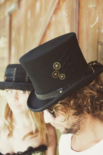 fadb65b5b8a109 ... Conner Handmade Hats Victorian Steampunk Top Hat with Clock Wheels Black  Side