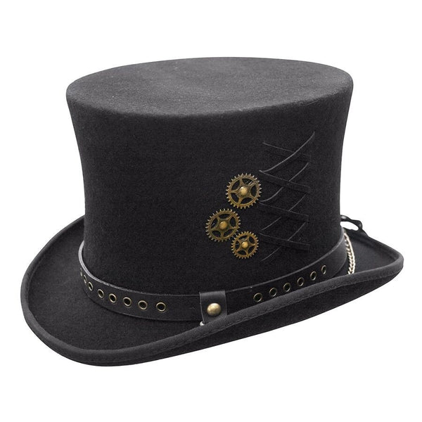 Conner Handmade Hats Victorian Steampunk Top Hat with Clock Wheels Black Side