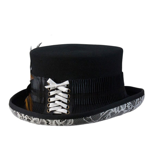 c1bf65e7c3585a Conner Handmade Hats Victorian Steampunk Top Hat with White Lace and  Feathers