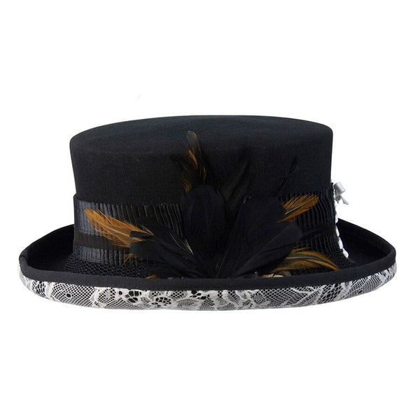 52fac2164b50ef ... Conner Handmade Hats Victorian Steampunk Top Hat with White Lace and  Feathers. Victorian and Old West ...