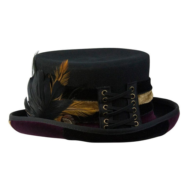 Conner Handmade Hats Victorian Steampunk Top Hat with Velvet Hatband Front