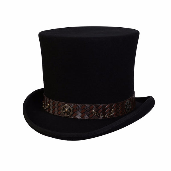 Conner Handmade Hats C1114 Mad Hatter Wool Top Hat Black