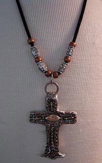 Necklace Old California Style Cross with Beads