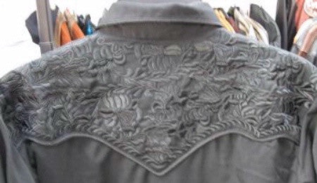 Vintage Inspired Western Shirt Mens Scully Gunfighter Charcoal Back Details