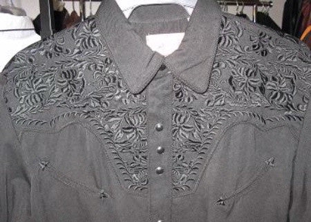 Vintage Inspired Western Shirt Mens Scully Gunfighter Charcoal Front Details