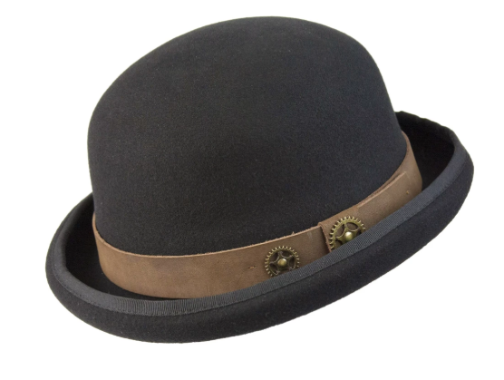 Conner Handmade Hats Steam Man Bowler Black with Brown Hat Band