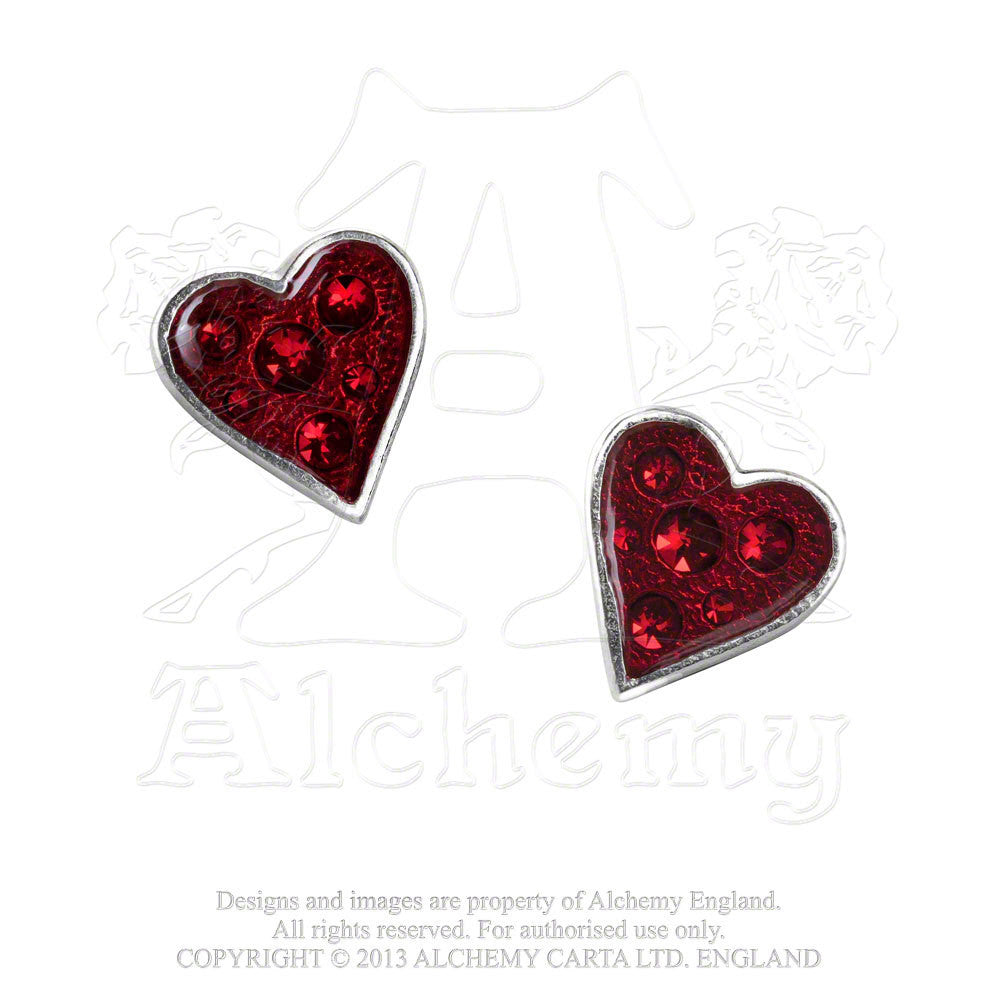 Alchemy England 1977 Red Swarovski Heart Shaped Earring Studs