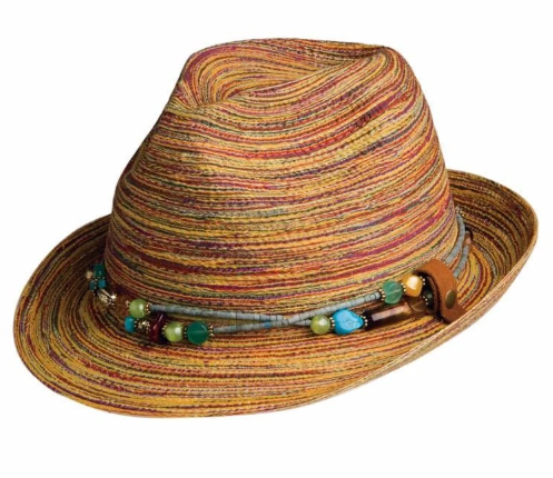 Braided Fedora with Removable Necklace Hatband Multi (Brown) F1094