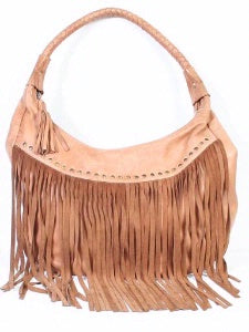 Scully Leather Co. leather Shoulder Bag with Long Fringe and Rivets