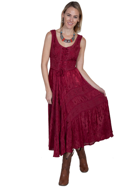 Scully Honey Creek Dress Lace-Up, Sleeveless, Burgundy Front XS-2XL