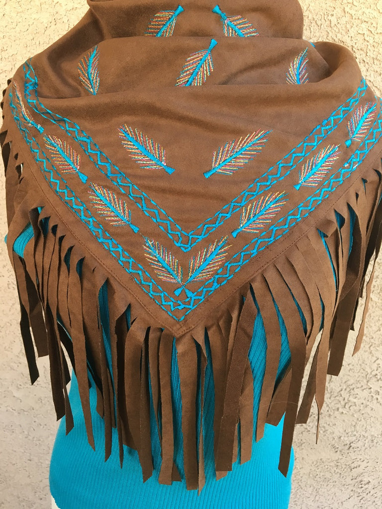 Scully Honey Creek Western Scarf, Fringe, Embroidery Front