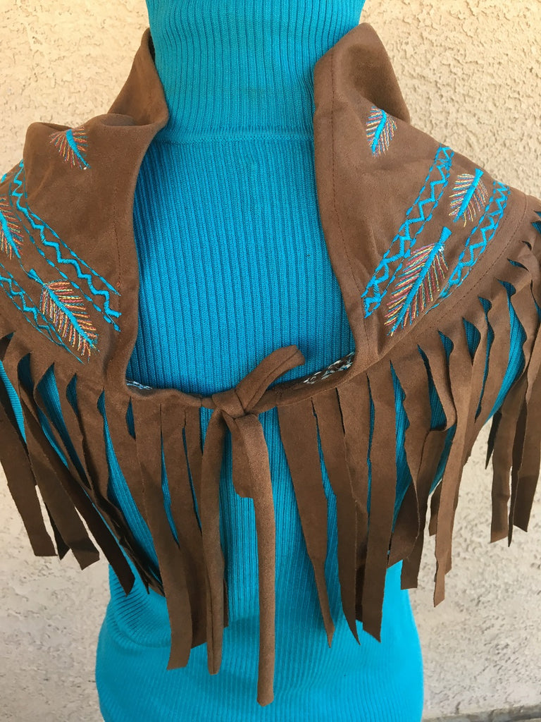 Scully Honey Creek Western Scarf, Fringe, Embroidery Back