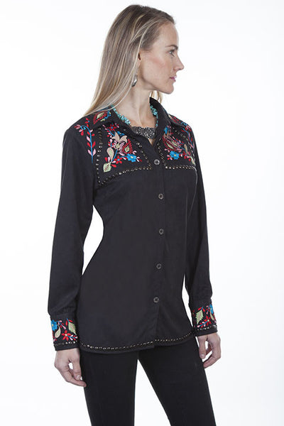 Scully Honey Creek Western Embroidered Button Front Blouse Front