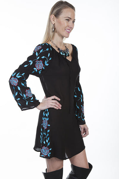 Scully Honey Creek Collection Dress with Rose and Vine Embroidery Front