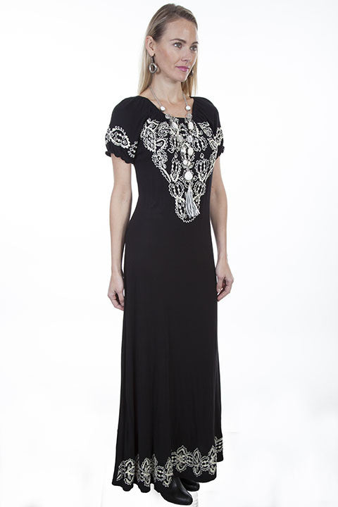 Scully Honey Creek Dress Maxi with Slits and Embroidery 3Q View