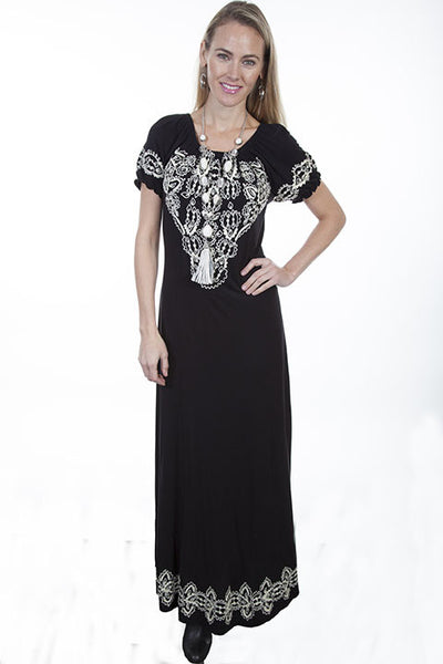 Scully Honey Creek Dress Maxi with Slits and Embroidery Front