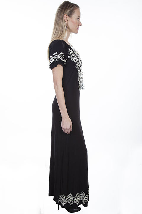Scully Honey Creek Dress Maxi with Slits and Embroidery Side