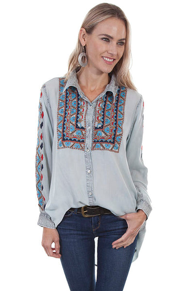 Scully Honey Creek Ladies Embroidered Button Front Fingerlength Tip Top Front Tucked