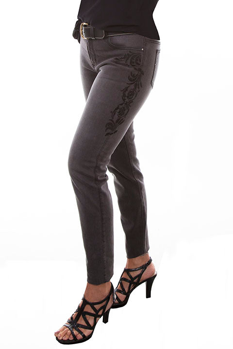 Scully Ladies' Honey Creek Embroidered Denim Jean Black Side
