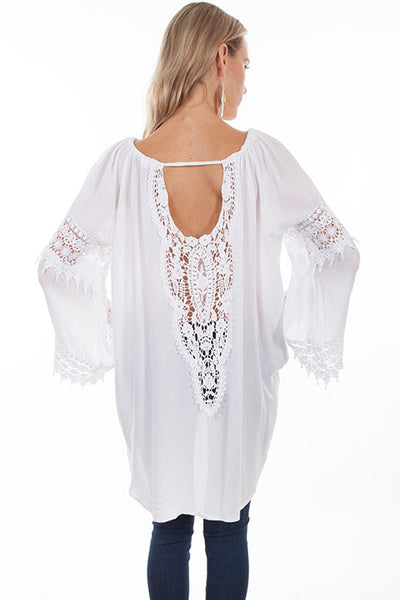 Honey Creek Collection Blouse: Hi/Lo Hem with Crochet Sleeves and Panels White