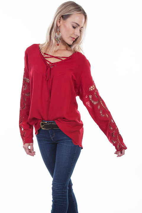 Scully Honey Creek Ladies Blouse Crochet Sleeves, Hi/Lo Hem Front View