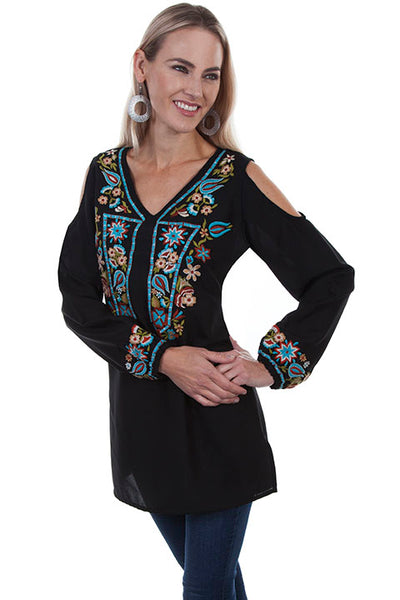 Honey Creek Collection Blouse: Embroidered Tunic with Peek A Boo Shoulders Black Front