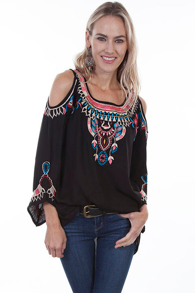 Honey Creek Collection Blouse: Folklike Embroidered Top with Peek A Boo Shoulders Black Front