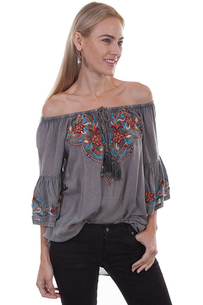 Honey Creek Collection Blouse: Embroidered Off The Shoulder Tunic Charcoal Front