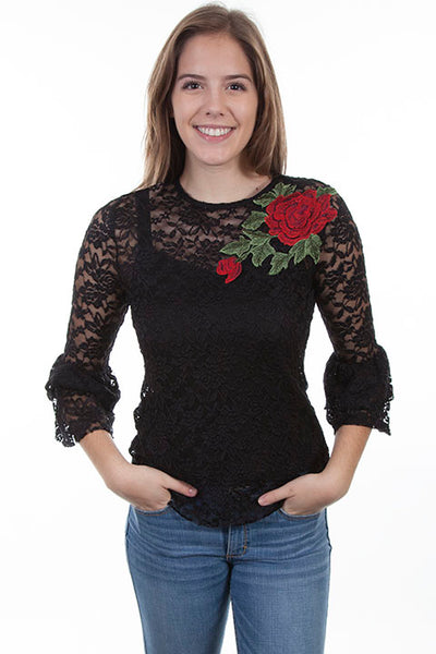 Scully Honey Creek Ladies Black Lace Top with Applique Rose