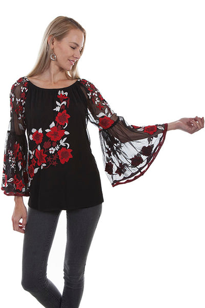 Scully Honey Creek Ladies Embroidered Mesh Tunic with Blossoms