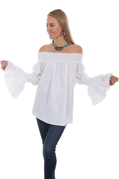 Scully Honey Creek Ladies Off The Shoulder Pullover with Smocked Neckline White