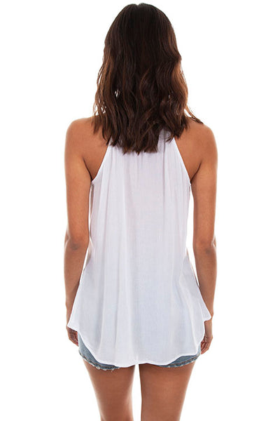 Scully Ladies' Honey Creek Embroidered Tank with Racer Back White