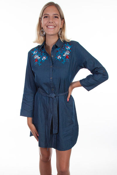 Scully Ladies' Honey Creek Denim Dress with Floral Embroidery Front
