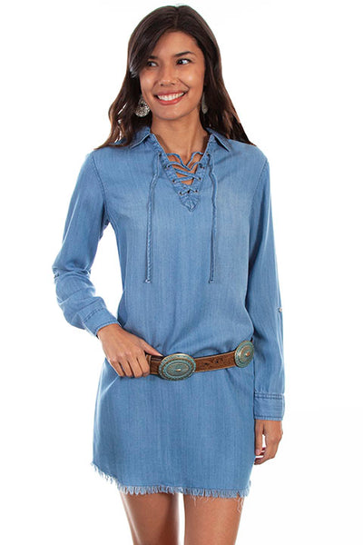 Scully Ladies' Honey Creek Denim Dress with V Neck and Cross Tie Back Front