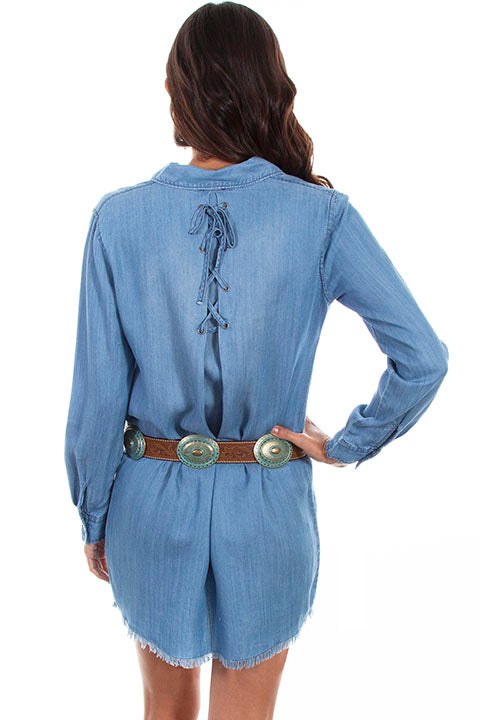 Scully Ladies' Honey Creek Denim Dress with V Neck and Cross Tie Back
