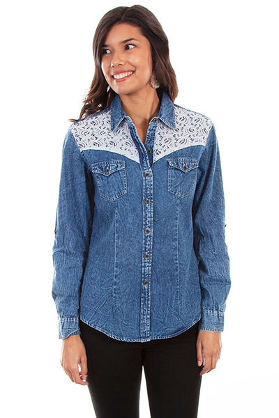 Scully Ladies' Honey Creek Denim and Lace Western Shirt Front