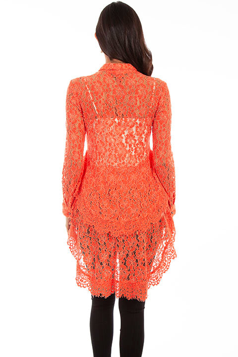 Scully Ladies' Honey Creek Hi/Lo Lace Button Front Coral Back