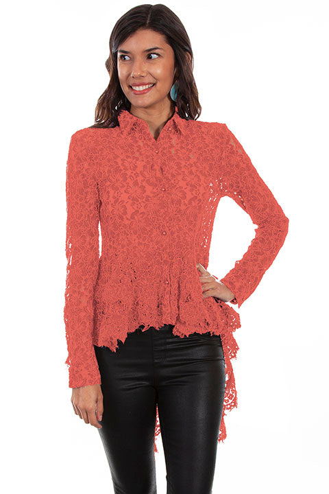 Scully Ladies' Honey Creek Hi/Lo Lace Button Front Coral Front