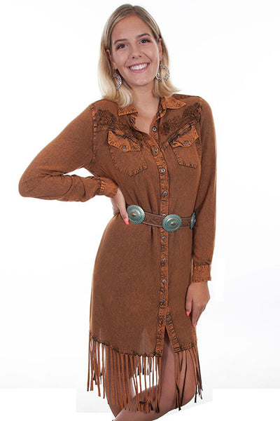 Scully Ladies' Honey Creek Western Dress with Fringe Front