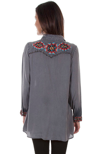 Scully Ladies' Honey Creek Tunic Top with Embroidered Geomeotric Pattern Front