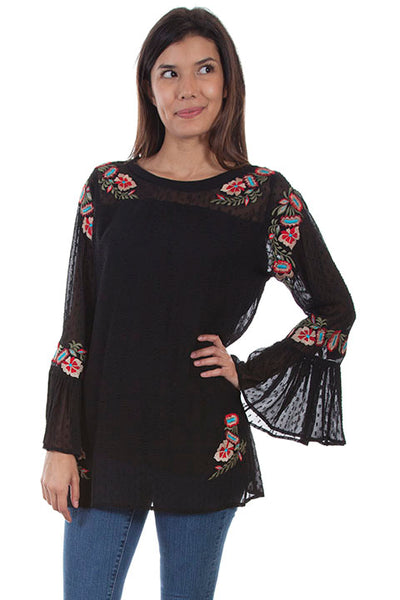 Scully Honey Creek Ladies' Dotted Swiss Tunic with Floral Embroidery Front
