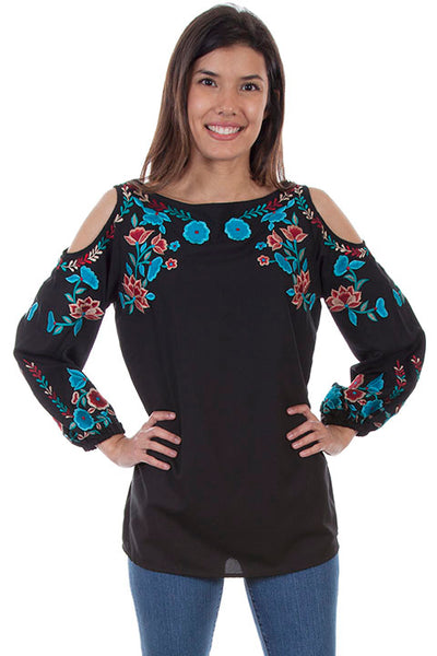 Scully Ladies' Honey Creek Pullover Embroidered Cold Shoulder Front
