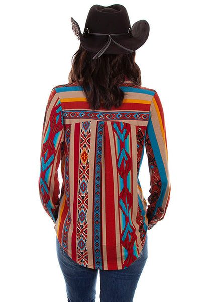 Scully Ladies' Honey Creek Serape Western Blouse Front View