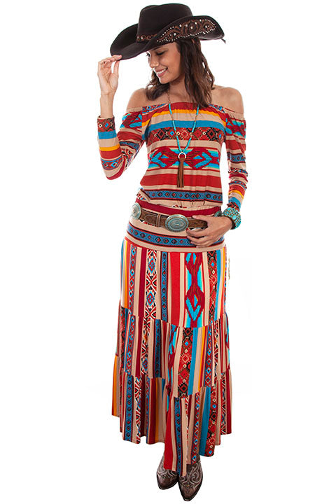Scully Ladies' Honey Creek Serape Three Tiers Maxi Skirt Front View