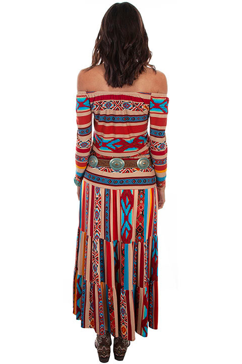 Scully Ladies' Honey Creek Serape Three Tiers Maxi Skirt Back View