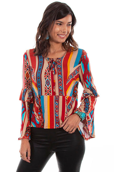 Scully Ladies' Honey Creek Serape Blouse with Ruffle Sleeves Front View