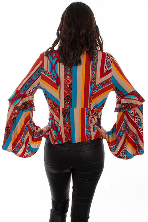 Scully Ladies' Honey Creek Serape Blouse with Ruffle Sleeves Back View